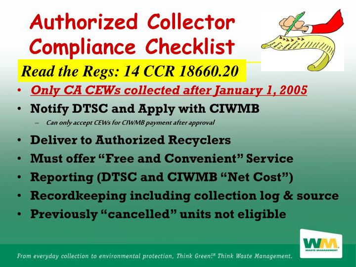 Authorized Collector Compliance Checklist