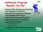 california program results so far