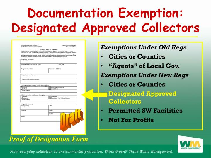 Documentation Exemption: Designated Approved Collectors
