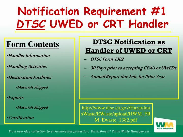 DTSC Notification as Handler of UWED or CRT