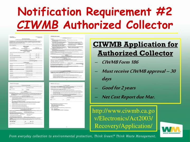 CIWMB Application for Authorized Collector