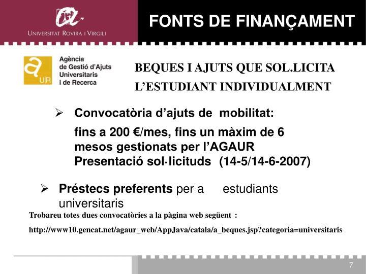 FONTS DE FINANÇAMENT