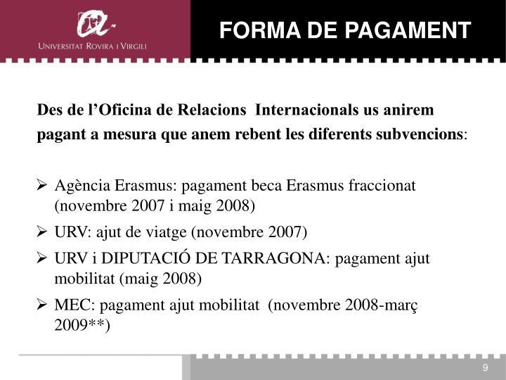 FORMA DE PAGAMENT
