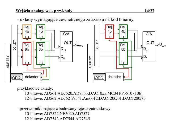 - układy wymagające zewnętrznego zatrzasku na kod binarny