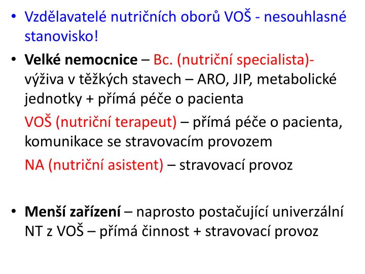 Vzdělavatelé nutričních oborů VOŠ - nesouhlasné stanovisko!