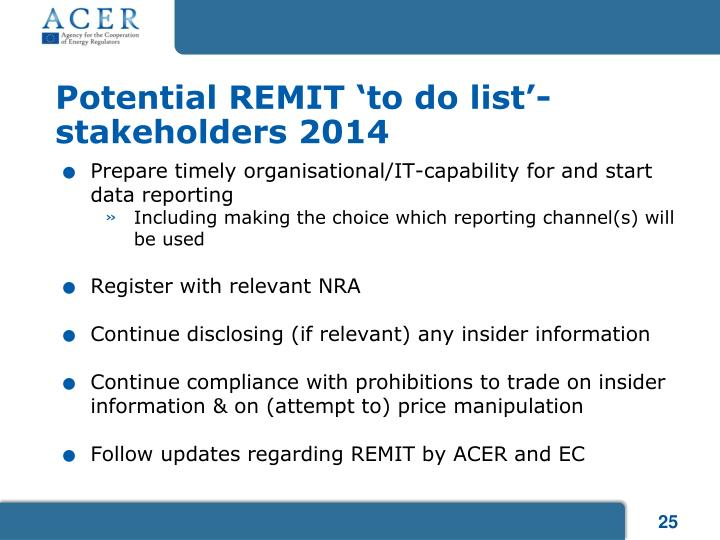 Potential REMIT 'to do list'-stakeholders 2014