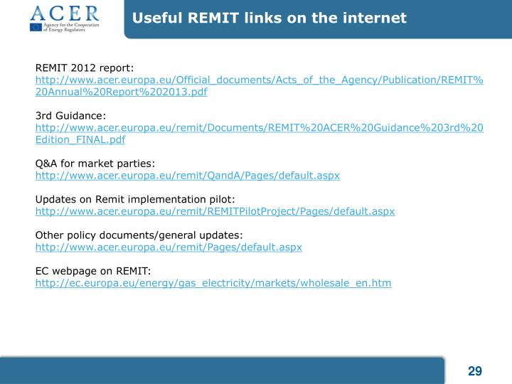 Useful REMIT links on the internet