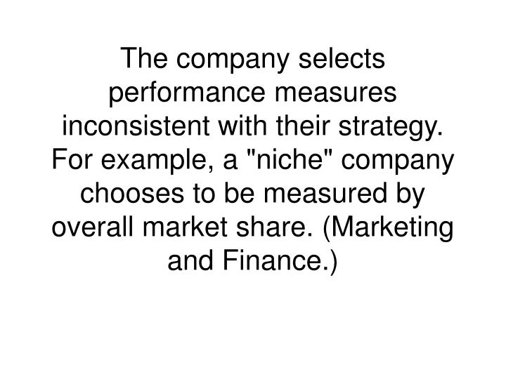 """The company selects performance measures inconsistent with their strategy. For example, a """"niche"""" company chooses to be measured by overall market share. (Marketing and Finance.)"""