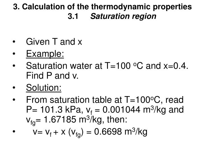 3. Calculation of the thermodynamic properties