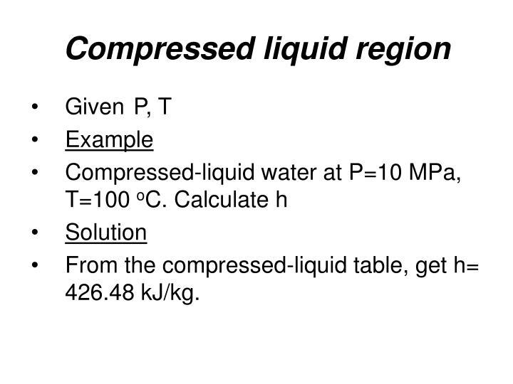 Compressed liquid region