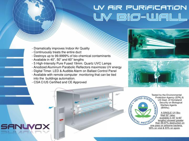 - Dramatically improves Indoor Air Quality