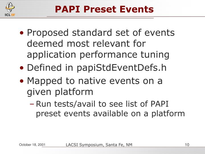 PAPI Preset Events