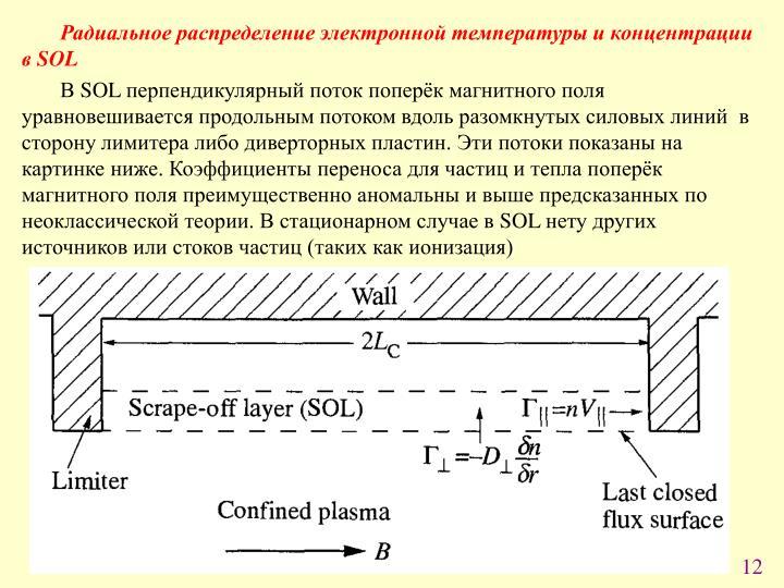 Радиальное распределение электронной температуры и концентрации в