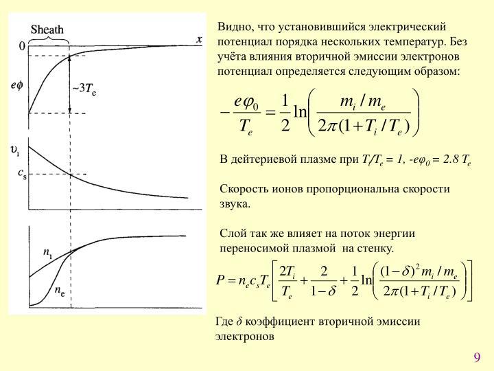 Видно, что установившийся электрический потенциал порядка нескольких температур. Без учёта влияния вторичной эмиссии электронов потенциал определяется следующим образом: