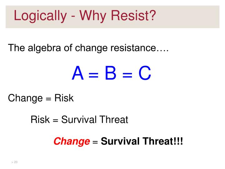 The algebra of change resistance….