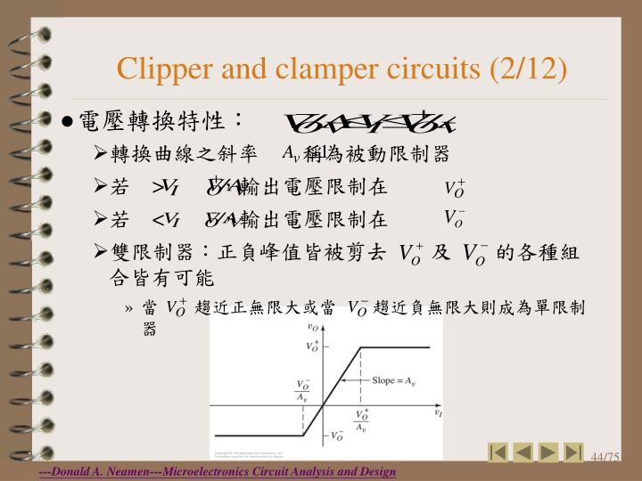 Clipper and clamper circuits (2/12)