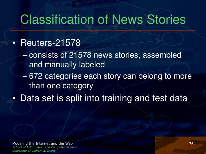 Classification of News Stories