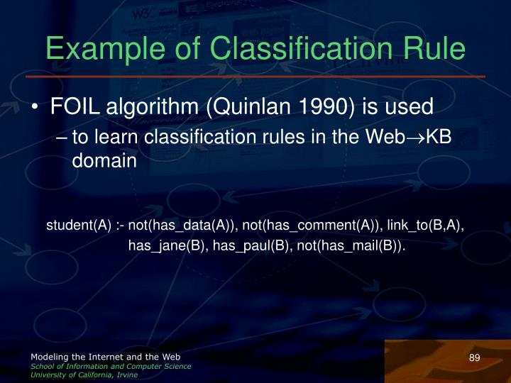 Example of Classification Rule