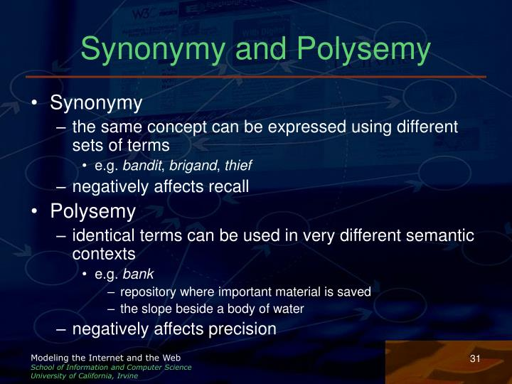 Synonymy and Polysemy