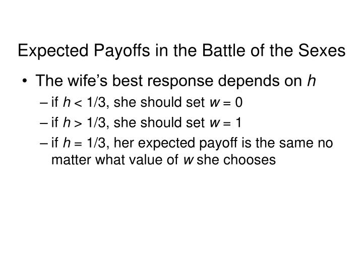 Expected Payoffs in the Battle of the Sexes
