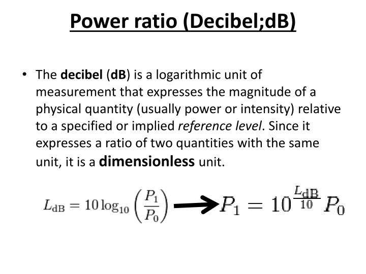 Power ratio (Decibel;dB)