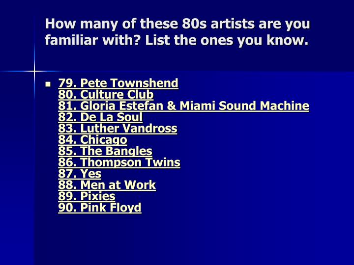 How many of these 80s artists are you familiar with? List the ones you know.