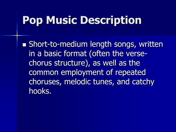 Pop music description