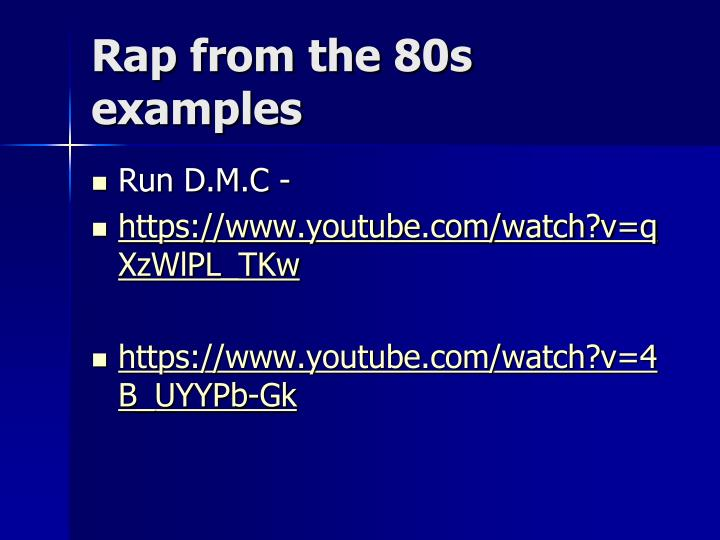 Rap from the 80s examples