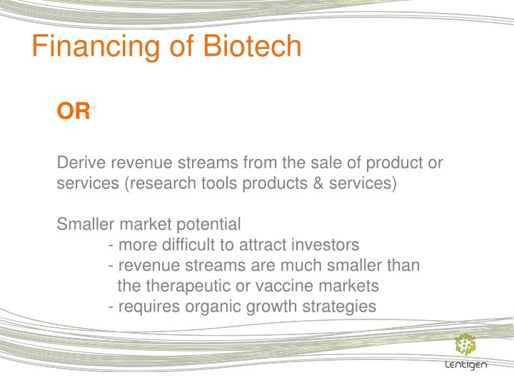 Financing of Biotech
