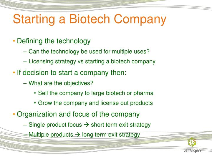 Starting a Biotech Company