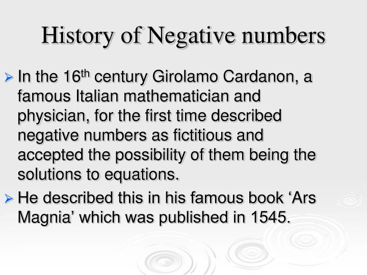 History of negative numbers