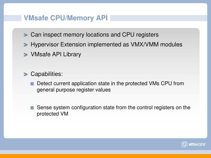 VMsafe CPU/Memory API