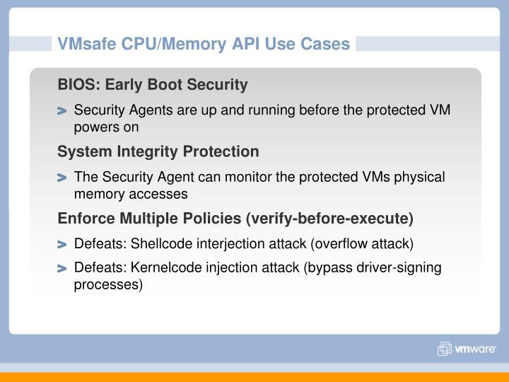 VMsafe CPU/Memory API Use Cases