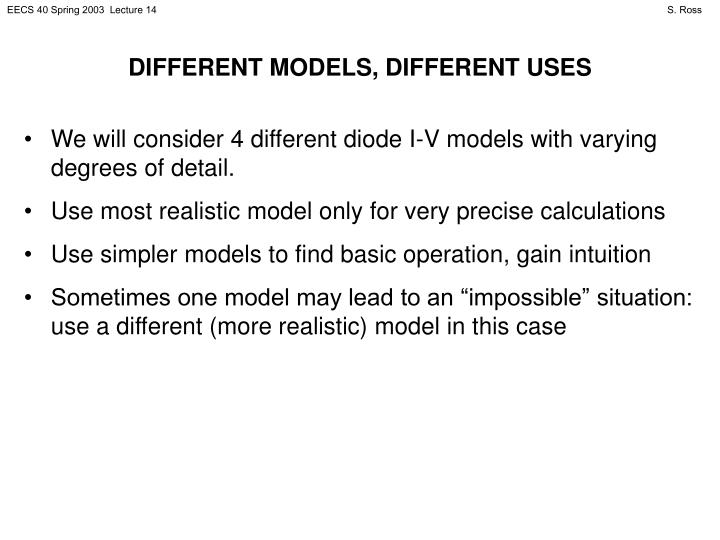 DIFFERENT MODELS, DIFFERENT USES