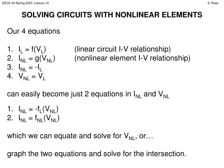 SOLVING CIRCUITS WITH NONLINEAR ELEMENTS