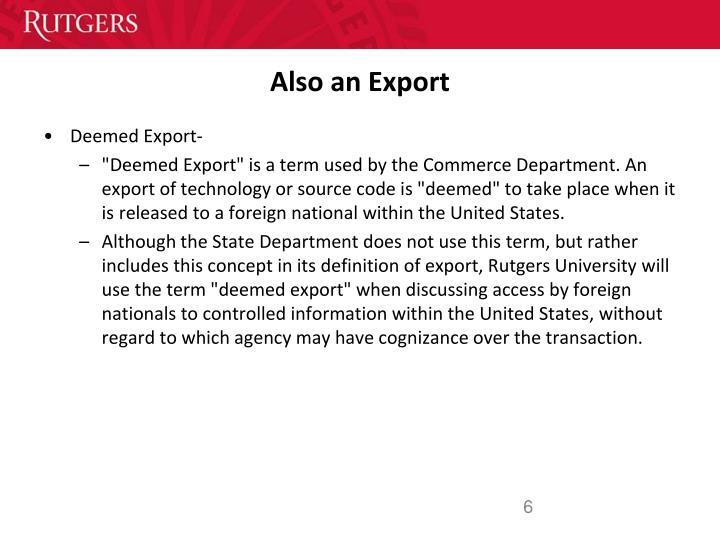 Also an Export