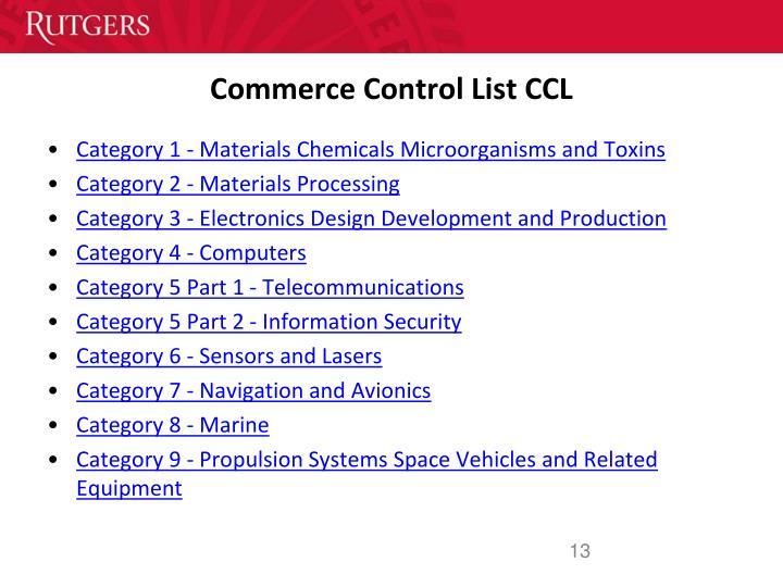 Commerce Control List CCL