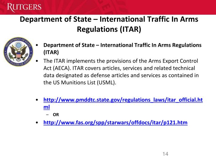 Department of State – International Traffic In Arms Regulations (ITAR)