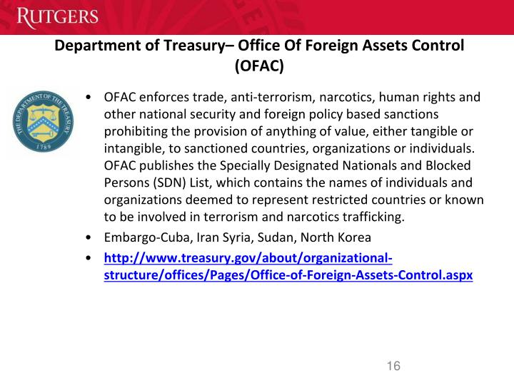 Department of Treasury– Office Of Foreign Assets Control (OFAC)