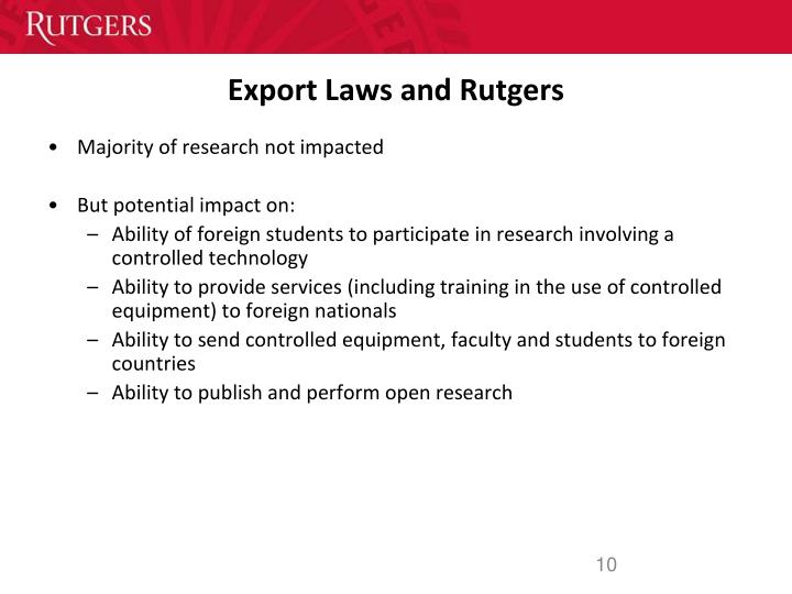 Export Laws and Rutgers