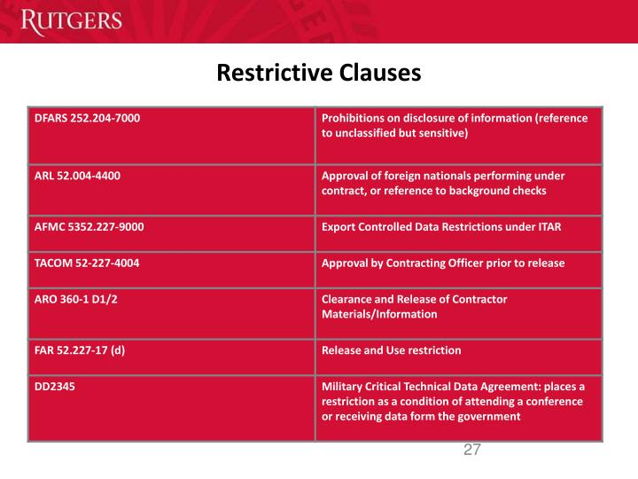 Restrictive Clauses