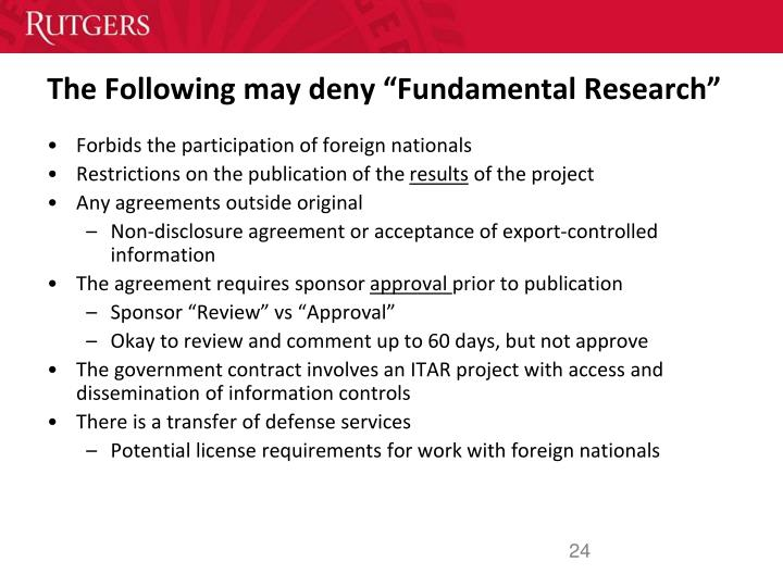 """The Following may deny """"Fundamental Research"""""""