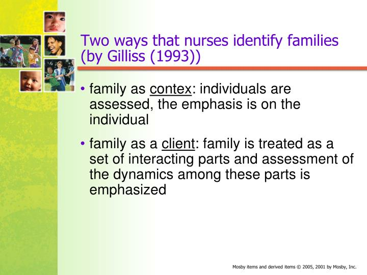 Two ways that nurses identify families by gilliss 1993