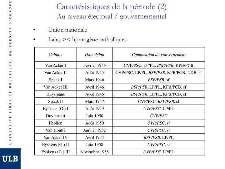 Caractéristiques de la période (2)