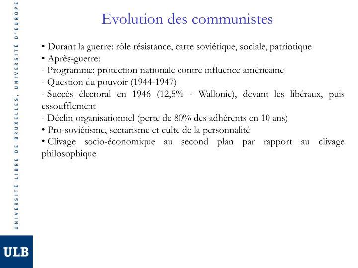 Evolution des communistes