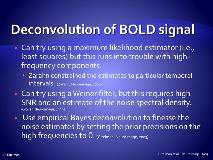 Deconvolution of BOLD signal