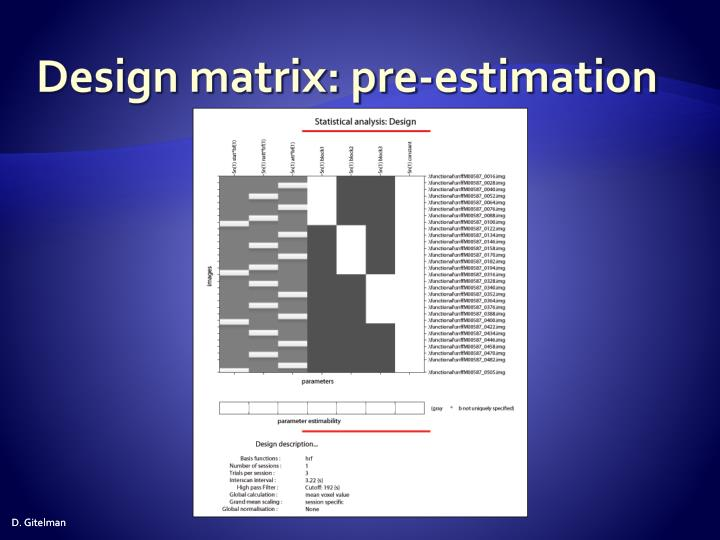 Design matrix: pre-estimation
