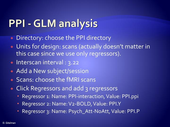 PPI - GLM analysis