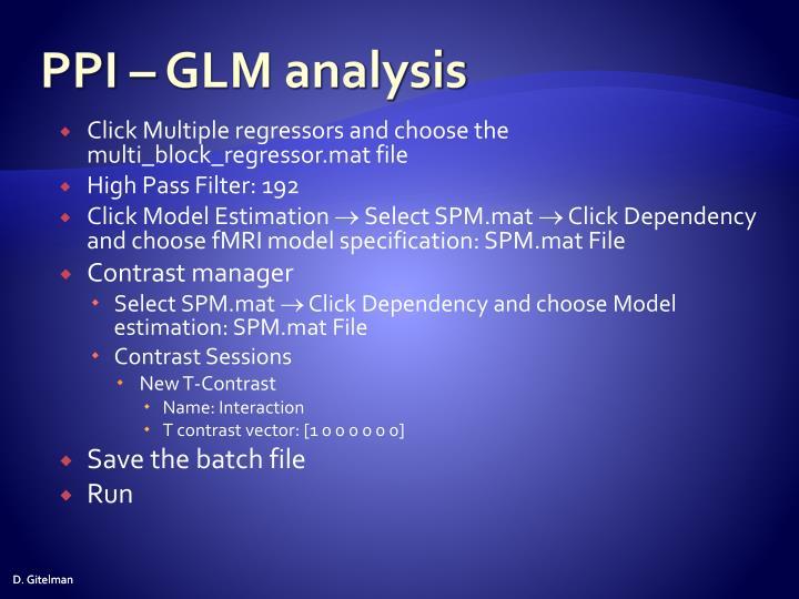 PPI – GLM analysis