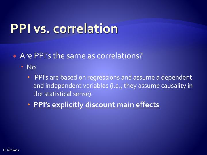 PPI vs. correlation